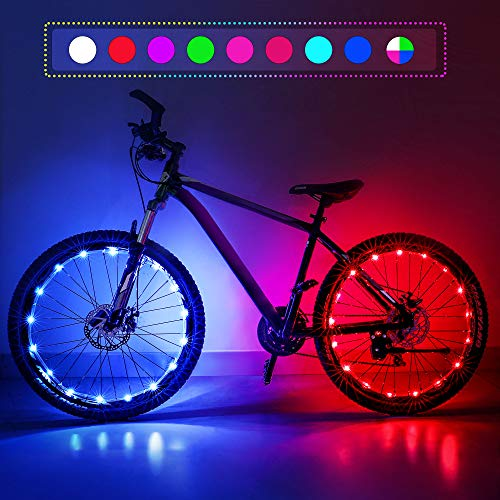 Nexillumi Upgraded 2-Pack Waterproof Color Changing LED Bike Wheel Lights with Batteries and Spoke Clips, 7 Colors 4 Modes and Strobes Great for Gifts