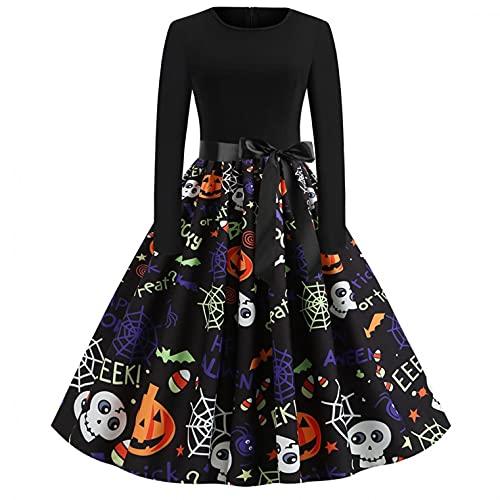 Dasongff Halloween Kostüm Damen Vintage Elegant Kleider Langarm Retro Lange Ärmel Kürbis Printed Skater Kleider A-Linie Hepburn Cocktailkleid...