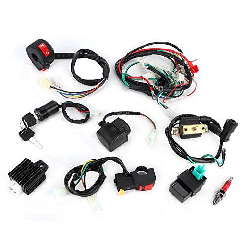 Kit completo de arnés de cableado para 50 cc 70 cc 110 cc 125 cc ATV Quad Bike Dirt Pit Bikes Kit de arnés de cableado Relé de solenoide Bobina de encendido Rectificador de enchufe CDI Interruptor
