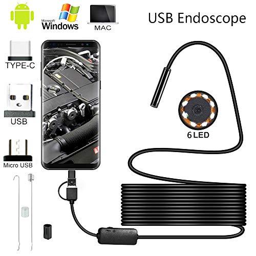 Hands DIY WiFi Endoscopio, Wireless Borescopio, Endoscopio Android 3 in 1, IP67 Impermeabile Telecamere di Ispezione con 6 Luci LED per Smartphone Android iPhone (2M)