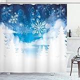 ABAKUHAUS Winter Duschvorhang, Schneeflocken & Sterne, mit 12 Ringe Set Wasserdicht Stielvoll Modern Farbfest & Schimmel Resistent, 175x220 cm, Weiß Blau