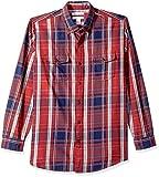 Amazon Essentials - Camisa de sarga con dos bolsillos y manga larga para hombre, Rojo (Red Plaid Rpl), US S (EU S)