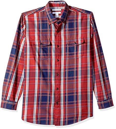 Amazon Essentials AE1811774, Camicia in twill a manica lunga con due taschini, Uomo, Rosso (Red Plaid Rpl), S