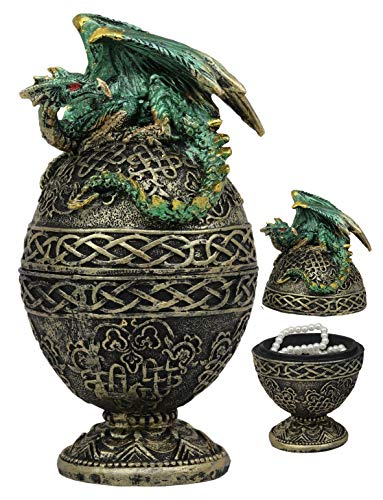 Ebros Gift Green Dragon Perching On Celtic Knotwork Tattoo Relic Golden Egg Decorative Jewelry Box Figurine 6.25' High Fantasy Myths Legends Dungeons and Dragons Statue