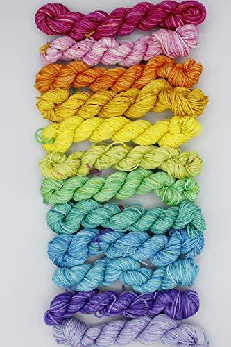 12 x 20g Regenbogen Mini-Stränge Merino/Seiden-Wolle, Merinowolle, Maulbeerseide,...