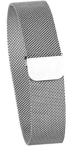 newgen medicals Uhrband: Milanaise-Armband für Uhren mit 20-mm-Steg, Magnet-Verschluss, Silber (Milanese Armband)
