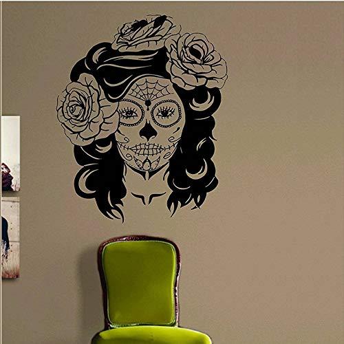 Day of the Dead Motivo per ragazze Decalcomania da muro Decorazione in vinile Arte Soggiorno Camera da letto Rose Teschio di zucchero Donne messicane A13-061
