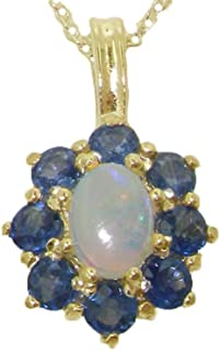 Womens Solid Yellow 10K Gold Natural Fiery Opal and Sapphire Cluster Pendant Necklace