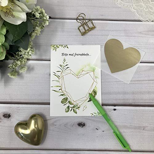 Rubbelkarten 3er Pack zum selber beschriften und personalisieren grün gold Blätter Eukalyptus 3er Pack