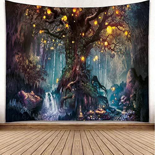 omnihabits Wandteppich, Wandtuch, Tapisserie, Tagesdecke, Wandbehang mit hoch detailliertem Druck (Mystischer Baum, 150 x 200 cm)