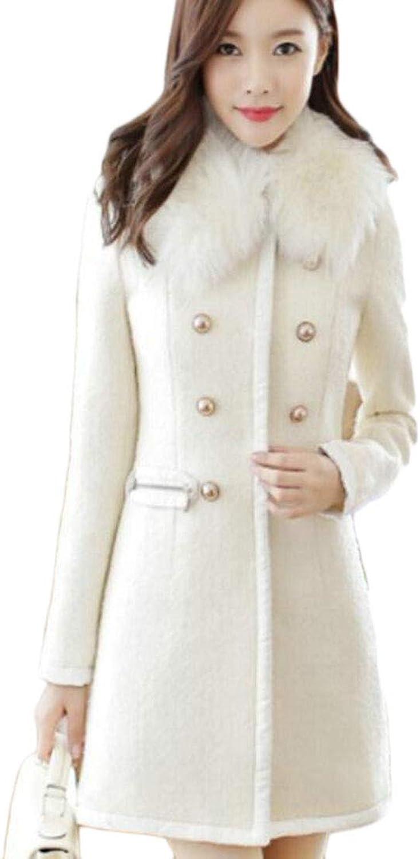 XFuture Women Winter Faux Fur DoubleBreasted Woolen Long Trench Coat