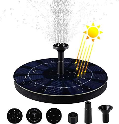MVPower Solar Springbrunnen, Wasserpumpe Solar Schwimmender Fontäne Pumpe mit Solar Panel für Gartenteich Vogelbad Schwimmpool Fischer-Behälter 2w 180L/H.