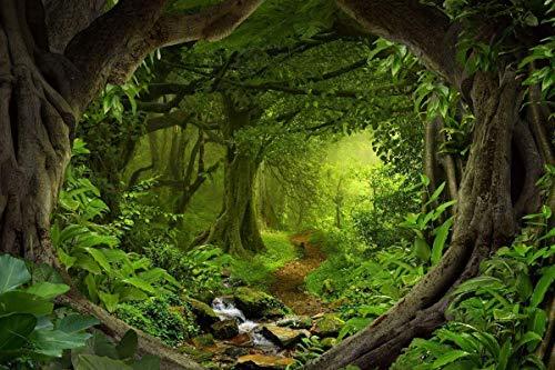 WaW 2.2x1.5m Fotostudio Leinwand Hintergrund Dschungel Wald for Baby Kinder Vedio Fotografie, Waschbar Stoff Grün Fotobooth Hintergrund Wedding Geburtstag Party Decoration