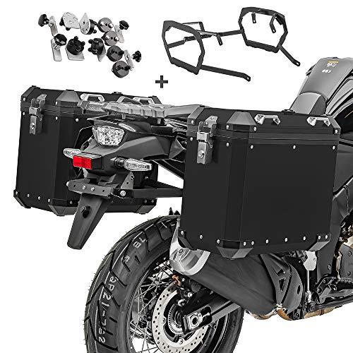 Maletas Laterales Aluminio + Soporte para BMW F 700 GS/F 650 GS 08-17 GX38-45 Negro