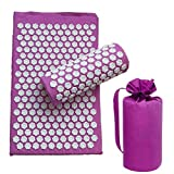 chebao, Classic Pro Yoga Mat,3 unids/set Lotus Acupuntura masaje almohada relajación Yoga Pad (púrpura)