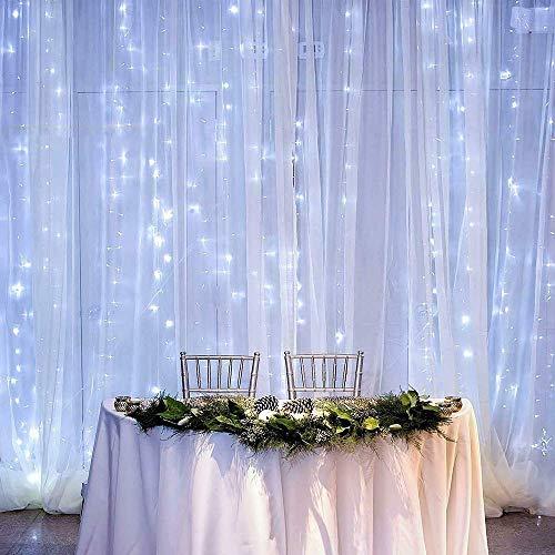 Luz de Cortina JINPX Luz Cadena Luces de Navidad con 300 LED 8 Modos 3 * 3M Blanca frio Perfecto para Fiestas,Bodas,Festivales,Presentaciones,Bares, Restaurantes, Hoteles, Conciertos