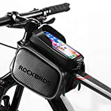 ROCKBROS Bike Bag Waterproof Top Tube Phone Bag Front Frame Mountain Bicycle Touch Screen Cell Phone Holder Pouch Compatible with iPhone X, 8 Plus 7