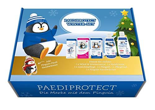 PAEDIPROTECT Set de invierno 6 productos para el cuidado de la piel del bebé y los niños con 1x crema para el viento y el clima, 1x crema de manos, 1x cuidado de la cara, 1x aceite de cuidado