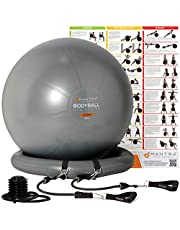 Exercise Ball Chair   Pilates Ball   Birthing Ball for Pregnancy, Balance & Yoga, 55cm / 65cm / 75cm Swiss Ball With Stability Base & Resistance Bands - Anti Burst, Gym Quality - Pump & Fitness Guide