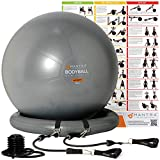 Exercise Ball Chair - 55cm / 65cm / 75cm Yoga Fitness Pilates Ball & Stability Base for Home Gym &...