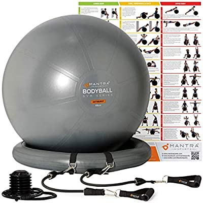 Berstsicher Pezziball Mit Widerstandsb/änder Poster /& Pumpe 55cm// 65cm// 75cm Geburtsball f/ür Schwangerschaft Pilates Ball Stabilit/ätsbasis Gymnastikball Sitzball B/üro Yoga /& Fitness Balance