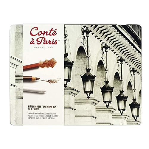 Conté a Paris 2185  Skizzen und Zeichenstifte Metallkasten (6 sortierte Stifte, 12 sortierte Carrés 1 Knetradierer, 2 Farbwischer)