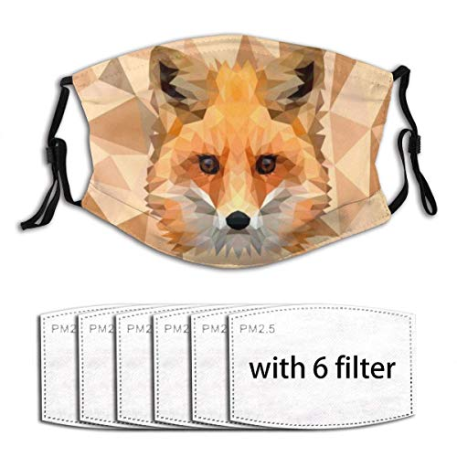 Unisex Windproof and Dustproof Mouth Mask with Adjustable Elastic Strap Face Covering with 6 Filters Running Outdoor Illustration Polygonal Animal Fox Head Polygon