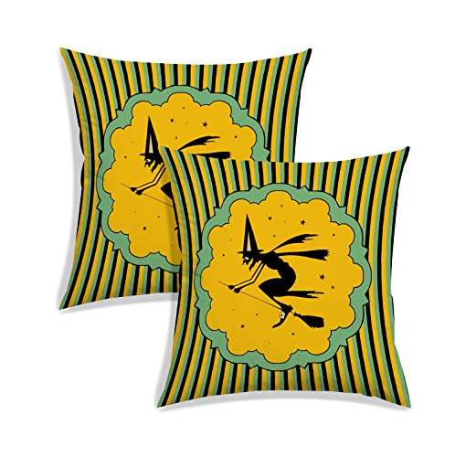 RADANYA Halloween Pattern Pillow Case Cushion Covers Pillowcase for Sofa Living Room Seat Decoration-Brown-24X24 Set of 2