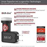 DUR-line +Ultra Twin LNB – 2 Teilnehmer schwarz – mit LTE-Filter, digital mit Wetterschutz, Full HD, 4K - 2