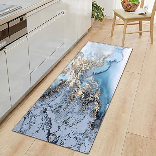 GOODJIA Mat Küchenläufer Küchenmatte,Teppichläufer Waschbare Küchenläufer/Küchendeko Modell Teppich,7mm Dicke abstrakt blau grau Gold Teppich, 60x180cm