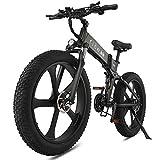 Bicicleta Electrica Plegable 26 Pulgadas 1000W 48V batería Dual MTB E-Bike Adulto Hombre Mujer (Negro)