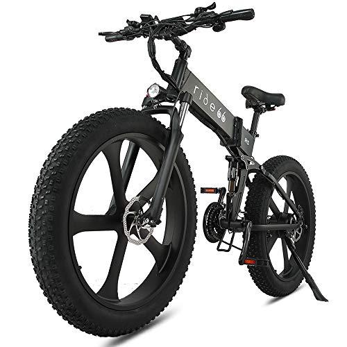 Velo Electrique VTT Fat Bike 26 Pouces Pliant Double Batterie Montagne Ebike pour Homme Femme (Noir)