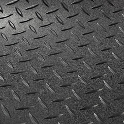 RV Trailer Diamond Plate Pattern Flooring | Black | 8' 6' Wide | Rubber Flooring | Garage Flooring | Gym Flooring | Toy Hauler Flooring | Car Show Trailer Flooring (Black, 25')