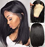 10A Lace Front Bob Wig Human Hair Pre Plucked Lace Front Wig Straight Bob Human Hair wigs For Black Women Natural Color 14inch(35,5cm)