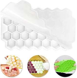 Volwco 37 Ice Cube Tray With Lid, Honeycomb Mini Ice Cube Molds BPA Free Silicone Ice Tray Moulds With Spill-Resistant Rem...