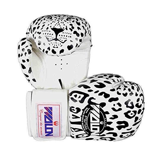 LIUBOLI Fight Taekwondo Boxing Mitten-Leopard Atmungsaktive Boxhandschuhe - Unisex Stoßfeste Druckatmungsaktive Reißfeste Handschuhe,White-10OZ