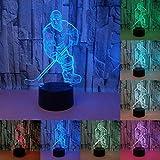 RUMOCOVO® Hockey Sur Glace Lecteur 3D LED Lumière De Nuit Montréal 7 Couleur Tactile Lampe de Table Pour Enfants Lampe De Chevet Noël Cadeaux