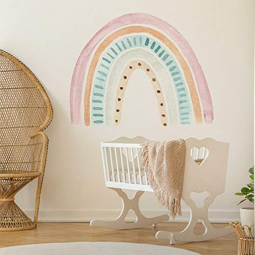 RoomMates RMK4637TBM Watercolor Rainbow Peel and Stick Wall Decals, pink, green, blue