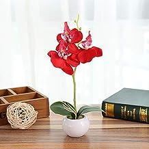 Flores artificiales decoracion Plantas simuladas bonsai mariposas de interior orquídeas elegancia tranquilit macetero redondo tres flores artificiales phalaenopsis (con macetas)