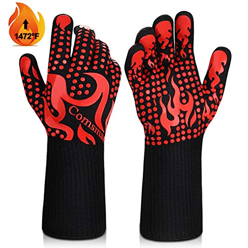 BBQ Gloves, 1473°F Heat Resistant Grilling Gloves Silicone Non-Slip Oven Gloves Long Kitchen Gloves for Barbecue, Cooking, Baking, Welding, Cutting