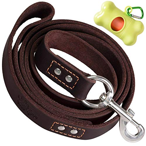 "ADITYNA - Heavy Duty Leather Dog Leash 6 Foot x 1"" - Dog Leash Large Dogs and Extra Large Dogs - Strong and Soft Dog Training Leash (XL - 6 ft x 1 inch, Brown)"