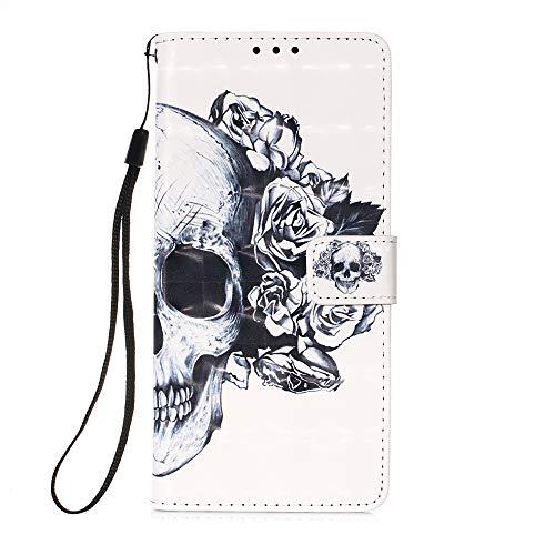 Samsung A21S Hülle, Leder, stoßfest, voller Schutz, Buch-Design, Brieftasche, Klapphülle mit [Magnetverschlus] & [Ständer] Handyhülle für Samsung Galaxy A21S, Totenkopf-Blume