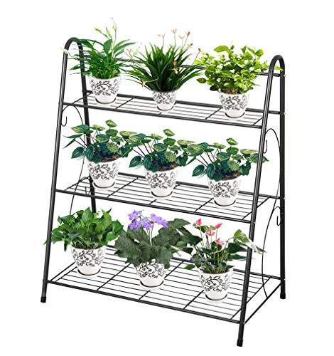 フラワースタンド 3段 園芸ラック ガーデンラック スタンド アイアン スチール製 鉢植え 屋外 室内 多機能収納ラック (63*31*72cm)