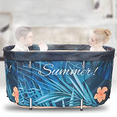 HUKOER Tragbare Badewanne,120 * 60CM für Erwachsene und Babys, faltbare Badewanne, runde Badewanne für Dusche, Familienbadezimmer Spa Badewanne mit thermostatischer Abdeckung (10 x Badetasche)