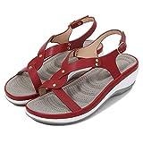 ZJMM Sandalias De Tacón De Cuña para Mujer Rojas Sandalias De Playa De Cabeza Redonda De Color Sólido para Mujer Sandalias De Mujer con Hebilla Tacón Medio Zapatos De Mujer A Juego