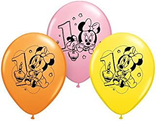 """PartyMate Balloons 030848 Minnie 1st Birhtday (6 Pk), 12"""", Multicolor"""