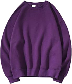 WUFAN Mens Solid Pullover O-Neck Classic Baggy Workout Tracksuit Top