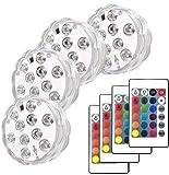 Piscina a LED con telecomando, Keyixing 4 confezioni Luci subacquee a fontana Luci a LED s...