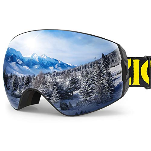 ZIONOR X7 Ski Snowboard Snow Goggles for Men Women Anti-Fog UV Protection Spherical Dual Lens Design (VLT 8.59% Black Frame Silver Lens)