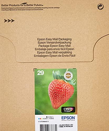 Epson 29 Serie Fragola Claria Home, Cartucce d'Inchiostro, Multipack 4 Colori, Formato Standard, Nero, Ciano, Magenta, Giallo, Confezione EasyMail Packaging, con Amazon Dash Replenishment Ready